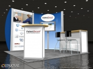 HTsystems 10x10 trade show displays by Structurz Exhibits and Graphics.