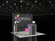 Sophia 10x10 trade show displays by Structurz Exhibits and Graphics.