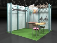 Clothing retailer 10x10 trade show displays by Structurz Exhibits and Graphics.