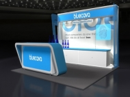 Bluecava 10x10 trade show displays by Structurz Exhibits and Graphics.