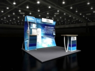 Water-themed 10x10 trade show displays by Structurz Exhibits and Graphics.