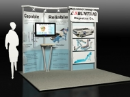 Bunting 10x10 trade show displays by Structurz Exhibits and Graphics.