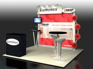 Luminex 10x10 trade show displays by Structurz Exhibits and Graphics.