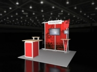 Red-themed 10x10 trade show displays by Structurz Exhibits and Graphics.