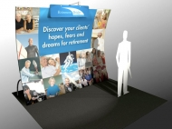 Retirement Bridge 10x10 trade show displays by Structurz Exhibits and Graphics.