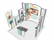 FlipOut 10x10 trade show displays by Structurz Exhibits and Graphics.