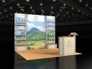 Organic India 10x10 trade show displays by Structurz Exhibits and Graphics.