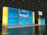 Himi 10x20 trade show booth by Structurz Exhibits and Graphics.
