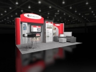Contemporary red 10x20 trade show booth by Structurz Exhibits and Graphics.