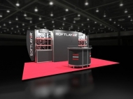 Softplayer 10x20 trade show booth by Structurz Exhibits and Graphics.