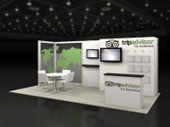 Tripadvisor 10x20 trade show booth by Structurz Exhibits and Graphics.