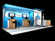 Accela 10x20 trade show booth by Structurz Exhibits and Graphics.