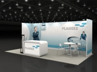 Plansee 10x20 trade show booth by Structurz Exhibits and Graphics.