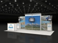 Mountain-themed 10x20 trade show booth by Structurz Exhibits and Graphics.