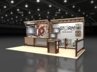 STORM 10x20 trade show booth by Structurz Exhibits and Graphics.