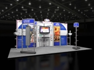 Blue-themed contemporary 10x20 trade show booth by Structurz Exhibits and Graphics.