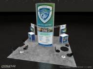 ByoPlanet 20x20 trade show displays by Structurz Exhibits and Graphics.