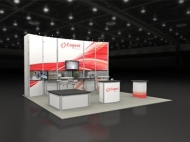Cogent 20x20 trade show displays by Structurz Exhibits and Graphics.