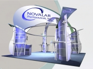 Novalar 20x20 trade show displays by Structurz Exhibits and Graphics.