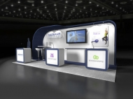 Medshape 20x20 trade show exhibits by Structurz Exhibits and Graphics.