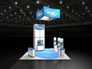 Anue 20x20 trade show exhibits by Structurz Exhibits and Graphics.