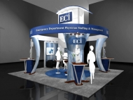 ECI 20x20 trade show exhibits by Structurz Exhibits and Graphics.