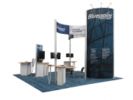 Bluepoint 20x20 trade show exhibits by Structurz Exhibits and Graphics.