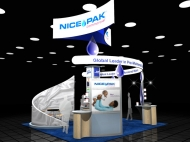 Nice Pak 20x20 trade show exhibits by Structurz Exhibits and Graphics.