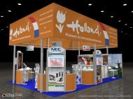 Holland trade show island displays by Structurz Exhibits and Graphics.