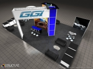 GGItuning trade show island displays by Structurz Exhibits and Graphics.