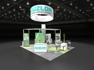 Suzlon trade show island displays by Structurz Exhibits and Graphics.