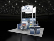 Anselm trade show island displays by Structurz Exhibits and Graphics.