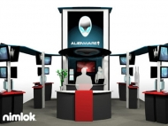 Alienware trade show island displays by Structurz Exhibits and Graphics.