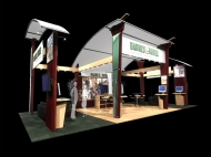 Barnes & Noble trade show island displays by Structurz Exhibits and Graphics.