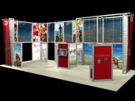 Red-themed trade show island displays by Structurz Exhibits and Graphics.